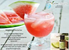 Watermelon Lime Spritzer by using young living lime essential oil! Yes please.