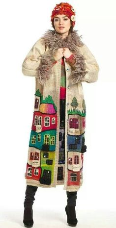 """""""HUNDERTWASSER handmade knitted coat for women - Beige boho coat w/ colourful house pattern and faux fur collar and cuffs"""", """"new take on the \""""Houseco Crochet Coat, Knitted Coat, Crochet Clothes, Tricot D'art, Mode Crochet, Look Fashion, Womens Fashion, Freeform Crochet, Crochet Fashion"""