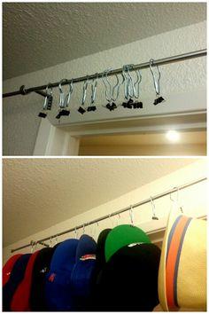 Diy Hat Rack I Used A Curtain Rod Shower Curtain Hooks