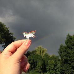 Unicorn dancing on rainbow! #unicorn #rainbow #omg #justintime #summer #afterthestorm #cloudysky