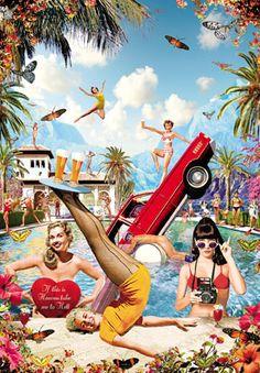Pool Party Postcard by Max Hernn