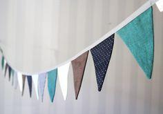 Fabric bunting banner Navy Turquoise Teal by Beanie on Helina Fabric Bunting, Bunting Banner, Baby Room Decor, Nursery Decor, Nursery Ideas, Aqua Party, Nursery Inspiration, Baby Boy Nurseries, Baby Shower Themes