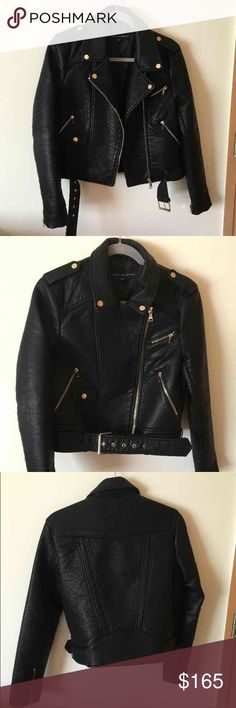French Connection Faux Leather Jacket Originally $250. Size 6US, 10UK, 38FR. A beautiful, heavy-weight, faux leather jacket with zipper accents and a belt. The jacket can be worn open or closed and looks terrific either way. Only been worn once and is in like new condition. Bought it while in Australia and have seen no one with a similar one in the U.S.! French Connection Jackets & Coats