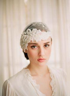 Twigs & Honey 2012 Beaded Lace Bridal Cap Style #220