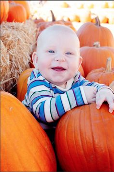 6 month baby boy photo shoot. Take your pictures at a pumpkin patch for babies born in March :) Photo By: CSaladino Photography