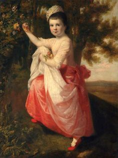 A Young Girl Gathering Honeysuckle |British School | 1770' to early 1780's |  Oil on canvas | Collections National Museums Liverpool | see at Lady Levers Art Gallery