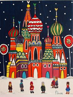 Moscu Art Pop, House Quilts, Naive Art, Russian Art, City Art, Whimsical Art, Art Plastique, Home Art, Watercolor Art