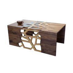 The negative space on this table is mesmerizing. Handmade Organic Wood Mosaic Coffee Table   dotandbo.com.