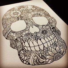 zentangle drawing skull easy drawings doodles pattern mandalas patterns process doodle google carabelas draw zentangles dead tangle guardado desde