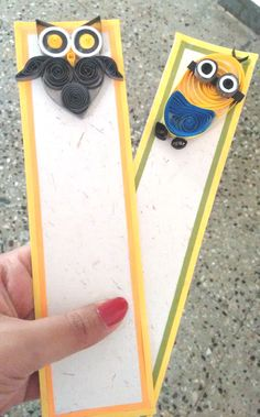 Owl and cute minion Quilled Bookmarks :)
