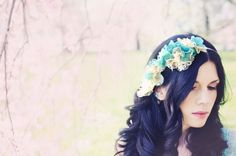 Blue and Cream Floral and Lace Hair Wreath  READY by TwoBackFlats, $95.00