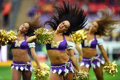 Minnesota Vikings cheerleaders entertain the crowd prior to the  NFL International Series game between Pittsburgh Steelers and Minnesota Vikings at Wembley Stadium in London