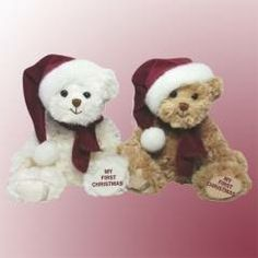 My First Christmas Teddy Bear commemorates Baby's first Christmas with this adorable teddy from Bukowski Bears.