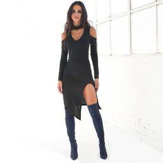 New Off Shoulder Autumn Dress 2016 High Neck Party Dresses Black Side Slit White Bodycon Dress Mini Women Sexy Dress Vestidos