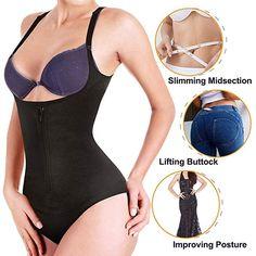 65d527e09c Nebility Women Latex Waist Trainer Bodysuit Slim Zipper and Hook Shapewear  Open Bust Corset