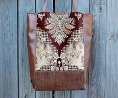 Handmade leatherette and velvet boho bag / casual bag / tote bag / shoulder bag / hipster bag / Bohemian bag / tote / brown, gold / сумка ручной работы / сумка Бохо