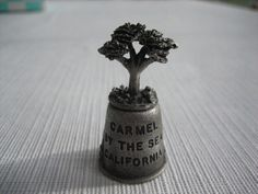 Estate Find - State Souvenir - Vintage Pewter Thimble - Carmel By The Sea, CA