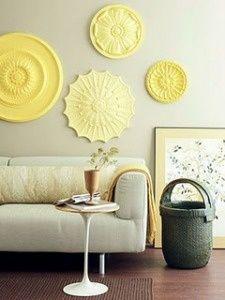Ceiling Medallion Wall Art. http://media-cache5.pinterest.com/upload/235664992971077400_sPQWfn1n_f.jpg margarethess art crafts Yellow Accents, Grey Yellow, Yellow Art, Pastel Yellow, Wall Accents, Colour Yellow, Lemon Yellow, Colour Combo, Colour Block