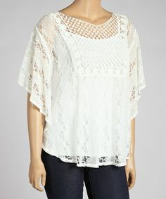 Look what I found on #zulily! Nude Sheer Lace Stripe Cape-Sleeve Top - Plus #zulilyfinds