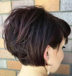 hair 2019 Tousled Short Bob With Bangs, grown out pixie Layered Haircuts For Women, Stacked Bob Hairstyles, Short Hairstyles For Thick Hair, Haircut For Thick Hair, Wavy Hair, Short Hair Cuts, New Hair, Short Hair Styles, Bob Haircuts