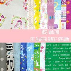 Giveaway Day!  Japanese fabric fat Quarter bundle from Miss Matatabi http://www.missmatatabi.com/?p=743