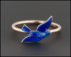 Blue Bird Ring  10k Gold & Silver Bird Ring  by TrademarkAntiques