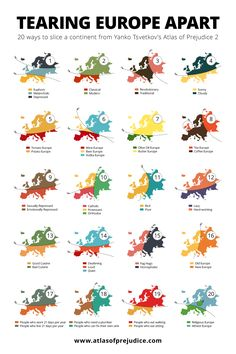 "atlasofprejudice: "" 20 ways to slice the European continent from Atlas of Prejudice 2 by Yanko Tsvetkov. """