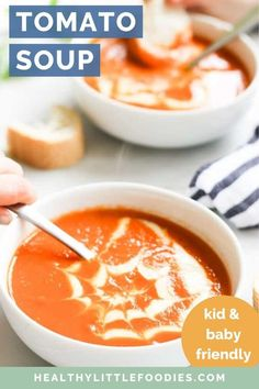 This tomato soup is a healthy classic full of flavour. An easy recipe that can be made in Blended to give a creamy texture with no cream needed! Great for families with tips on how to adapt it for serving a baby. Dairy free and gluten free Soups For Kids, Vegetarian Meals For Kids, Healthy Lunches For Kids, Dinners For Kids, Kids Meals, Vegetarian Recipes, Easy Meals, Healthy Recipes, Healthy Food