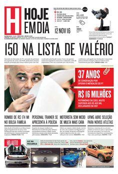 Capa do dia 12/11/2016 #HojeEmDia #Jornal #Notícias #News #Newspaper