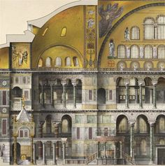 Santa Sofía Antoine Helbert Reconstruction, plans, elevations and sections of Byzantine monuments; Constantinople, to century Architecture Antique, Byzantine Architecture, Architecture Drawings, Classical Architecture, Historical Architecture, Architecture Details, Ste Sophie, Hagia Sophia, Byzantine Art