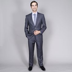 Men's Charcoal Wool/ Two-Button Double-Vent Suit
