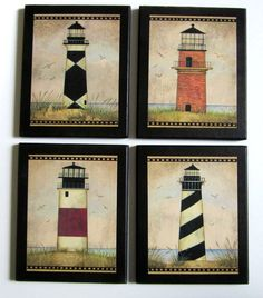 Vintage Lighthouses 4 pc. wall decor plaques beach old fashioned folk art lighthouse aged look