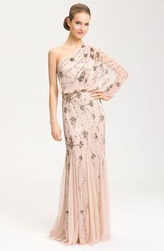 Adrianna Papell Beaded One Shoulder Gown | Nordstrom