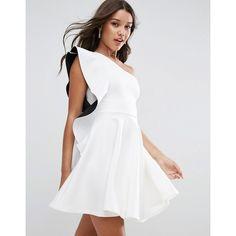 ASOS Bonded Ruffle Mono Skater Mini Dress (64,370 KRW) ❤ liked on Polyvore featuring dresses, white, white dresses, off the shoulder ruffle dress, short dresses, white skater dress and white prom dresses