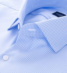 Mayfair Wrinkle-Resistant Light Blue Gingham Dress Shirt by Proper Cloth