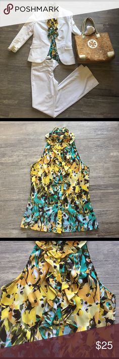 Super cute dress top from the Limited! Perfect for under a jacket or by itself--this top received compliments every time it's worn:). Perfect color mixture of yellows, teal, brown and white! The Limited Tops Blouses