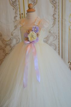 Ivory Lavender and Champagne flower girl by TutuSweetBoutiqueINC