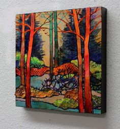 """Contemporary Landscape Artists International: Mixed Media Abstract Landscape Collage, """"Twilight Time"""" by Carol Nelson Fine Art"""