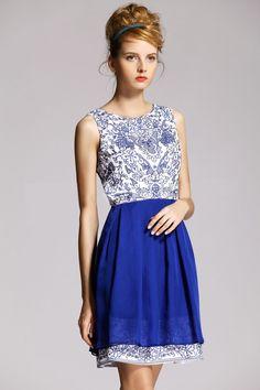 Morpheus Boutique  - Blue Jacquard Floral Sleeveless Color Block Pleated Dress