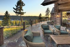 When planning outdoor living space be mindful of what you intend to use it for. Will you be hosting guests? Make sure you have plenty of seating. Or is it your own private sanctuary meant to experience stunning nature views? Either way, treat this space like a room in your home and create it with purpose.#outdoorliving #summertime #loghomeliving Log Cabin Living, Log Cabin Homes, Log Homes Exterior, Exterior Design, Outdoor Spaces, Outdoor Living, Log Home Builders, Luxury Log Cabins, Log Home Designs