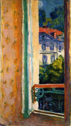interior painting, pierr bonnard, 1918, uriag, windows