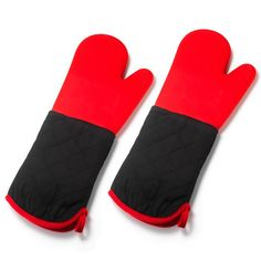 """Get a grip!Set of 2 silicone grill mitts for all your cooking activities.FEATURES•Set of two silicone grill mitts• Hand is red with the rest of it being black; red trim along hand opening with a red hang tag• 17"""" x 6 3/4"""" each mittMATERIALS• Silicone• Polyester• CottonCARE• Spot clean"""