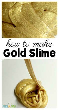 Super easy recipe to make gorgeous gold slime! This can be easily incorporated into a preschool or kindergarten classroom with a pirate theme, for St. Patrick's day, or just for some fun shiny sensory play! #funaday #slime #diyslime #goldslime