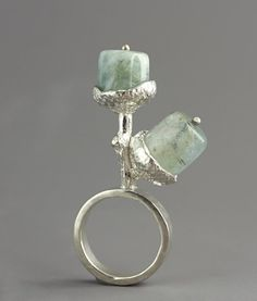 "Ring | Sarah Hood.  ""Acorn"".  Sterling silver and aquamarine (March birthstone)"