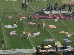 I saw a drum corps show in the 'burbs last month. Those are quilts! Quilts in the show! Well, flag quilts.
