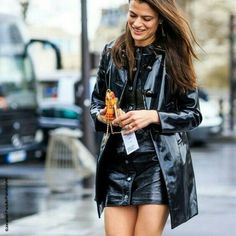 Leather skirt and pvc coat