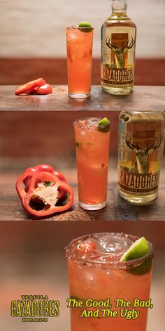 The Good, The Bad, The Ugly  1 1/2 part Tequila Cazadores Blanco  1/2 part Mezcal Blanco 1/2 part Aperol 1 part Perfect Puree red roasted bell pepper 3/4 fresh lime juice 3/4 part Agave syrup  Combine all ingredients in a cocktail shaker with ice, shake well and serve over the rocks in a double old fashioned glass with hibiscus chill salt rim.