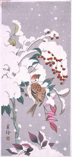 Sparrow and Nandina in Snow by Jō aka Hashimoto Yuzuru (橋本襄 c1920s - 1930s)