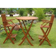 International Caravan Add a touch of style and comfort to your outdoor furnishings with this Carmona 3 Piece Bar Height Bistro Set. Wooden House Decoration, Bar Height Dining Table, Patio Dining, Patio Bar, Dining Sets, 3 Piece Bistro Set, Solid Wood Table Tops, Bar Stool Chairs, Bar Stools