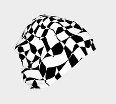 "Beanie ""Black and White Organic Wavy Checkered Pattern"" by Jocelyn Ball"